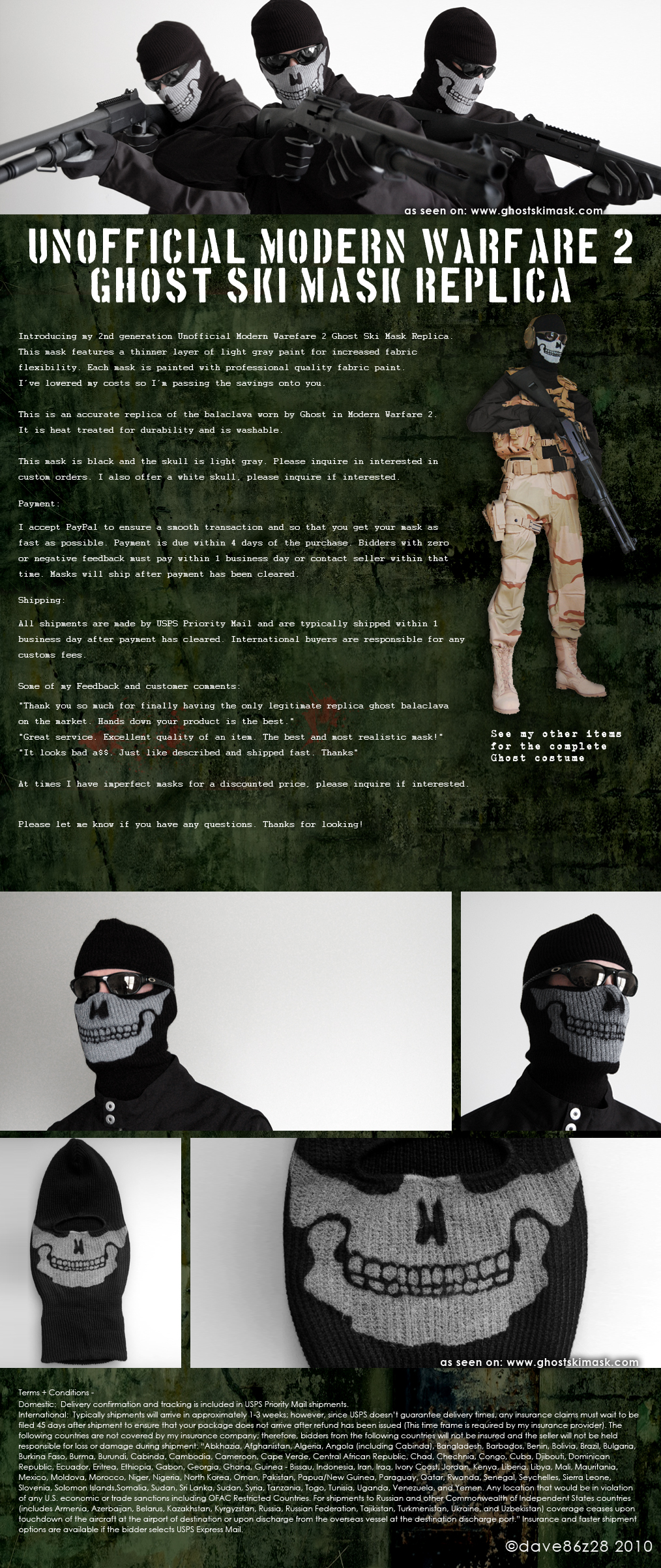 Unofficial Modern Warfare 2 Ghost Ski Mask Replica Wide Knit New